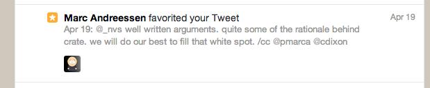Marc Andreessen favorites our Tweet