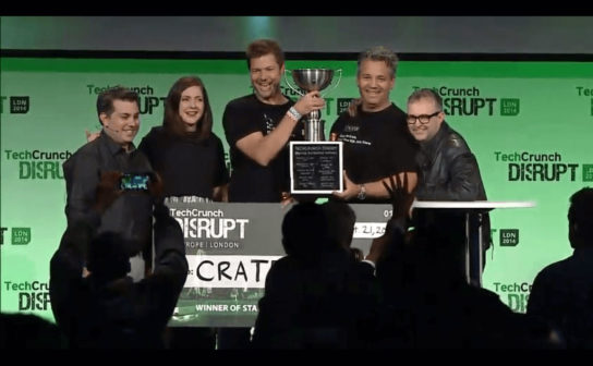 Jodok and Christian receiving the TechCrunch Disrupt Award