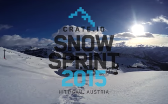"Words ""Crate.io Snowspring 2015, Hittisau, Austria"" written on a picture showing ski slopes"