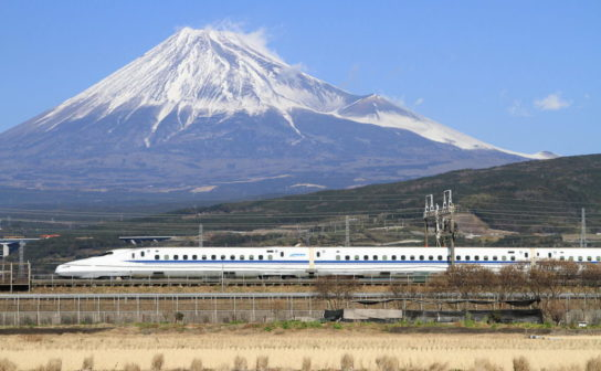 Shinkansen N700 with Mount Fuji