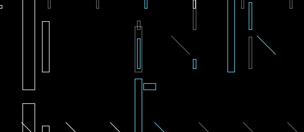 Black background with lines and rectangles in different sizes in grey, white and cyan