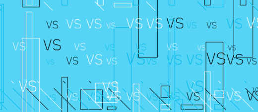 Words VS representing a Comparison written on cyan background with lines and rectangles in different sizes