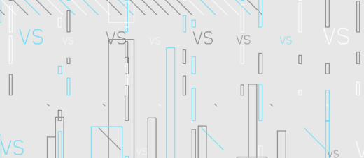 Words Vs representing Comparison on a lightgrey background with lines and rectangles on it