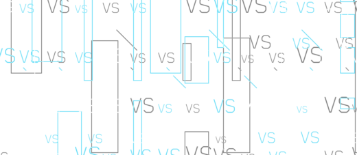 Words VS representing Comparison on a white background with lines and rectangles in different sizes