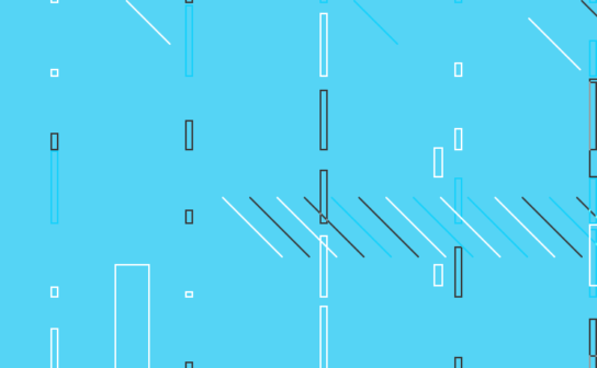 Cyan background with lines and rectangles in different sizes
