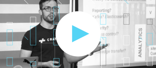 "Speaker of the DevTalk ""Machine Data Analysis Stack"" with a play video icon on it"