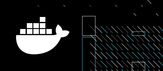Docker Logo on a black background with stripes and rectangles