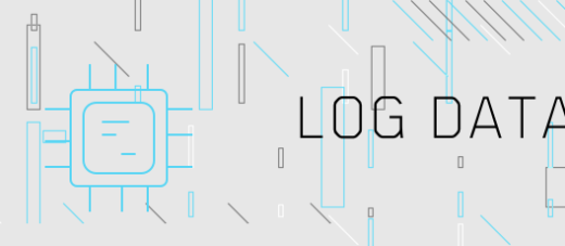Icon showing the word Log Data on a grey background with cyan and darkgrey stripes on it