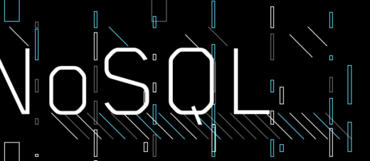 The word NoSQL on a black background with colored stripes and rectangles on it.