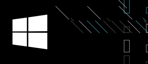 Windows Logo on a black background with stripes and rectangles.