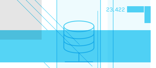 Database Icon on a background with cyan and lightcyan balks and stripes