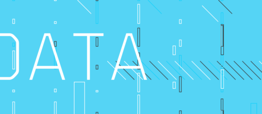 The word Data on a cyan background with lines and rectangles on it