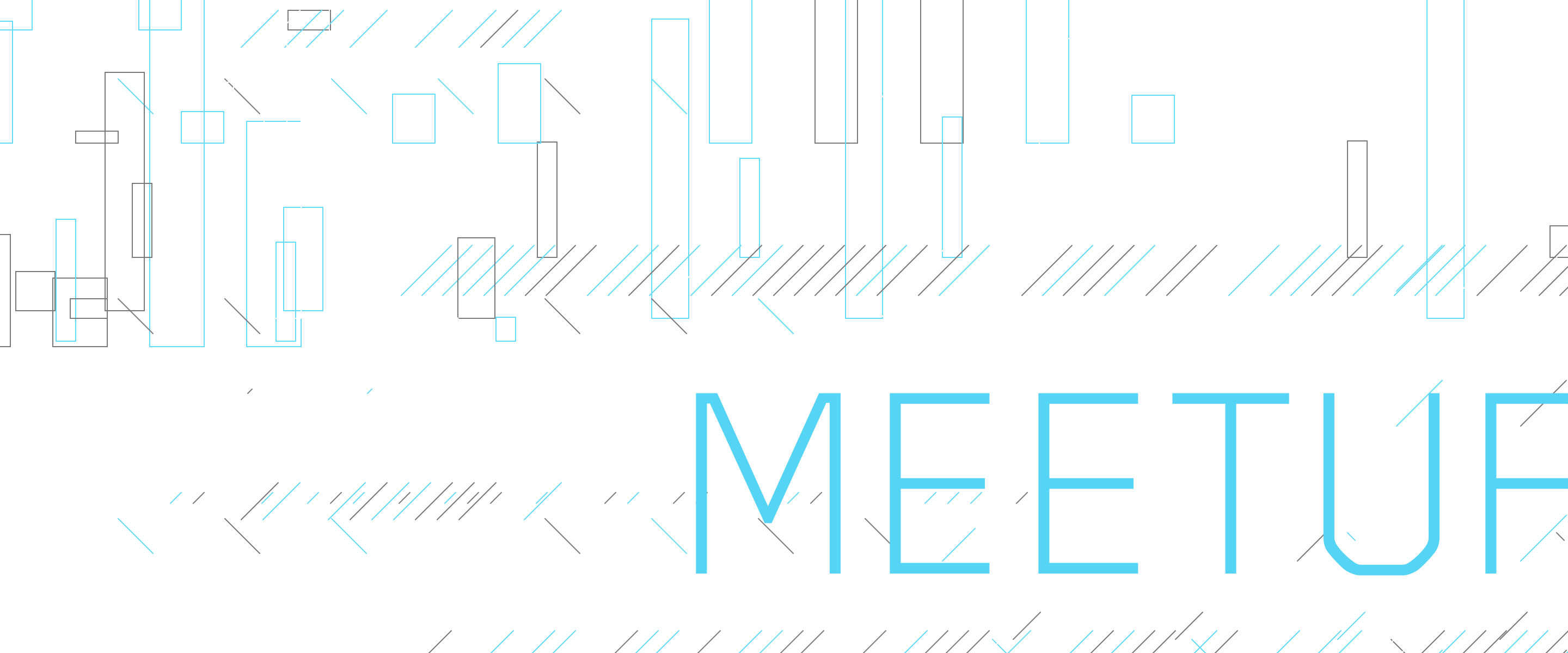 The Word Meetup in Capital Letters on a white background with lines and rectangles on it.