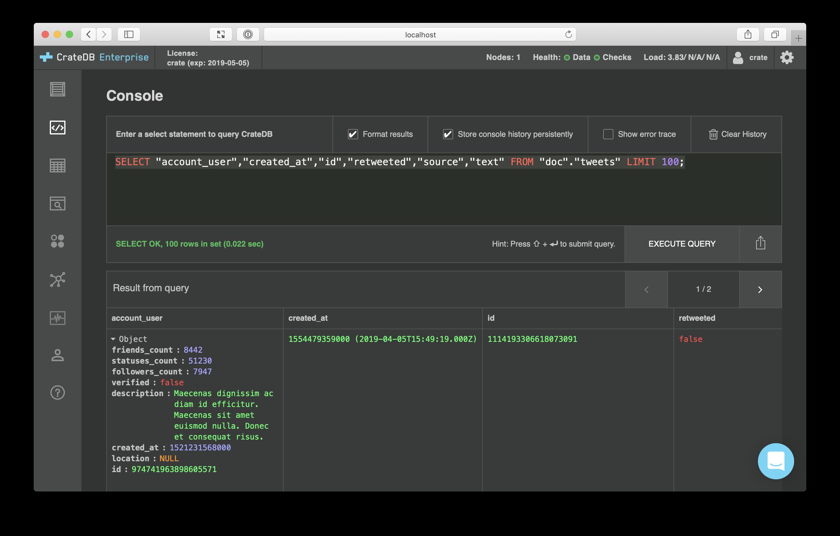 CrateDB admin UI