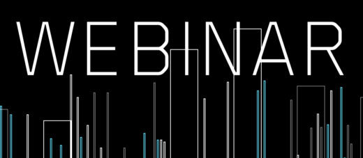 """Word """"Webinar"""" in white capital letters on a black background with lines and rectangles on it"""