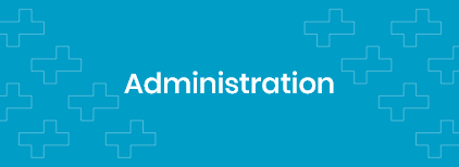 """Word """"Administration"""" on a cyan background with lines and rectangles on it."""