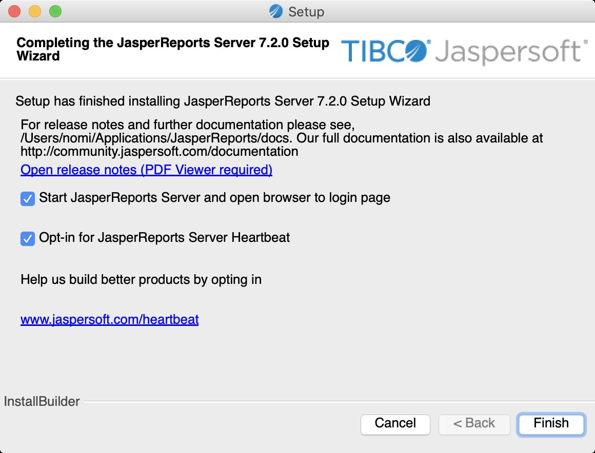 Screenshot of the JasperReports Server installer