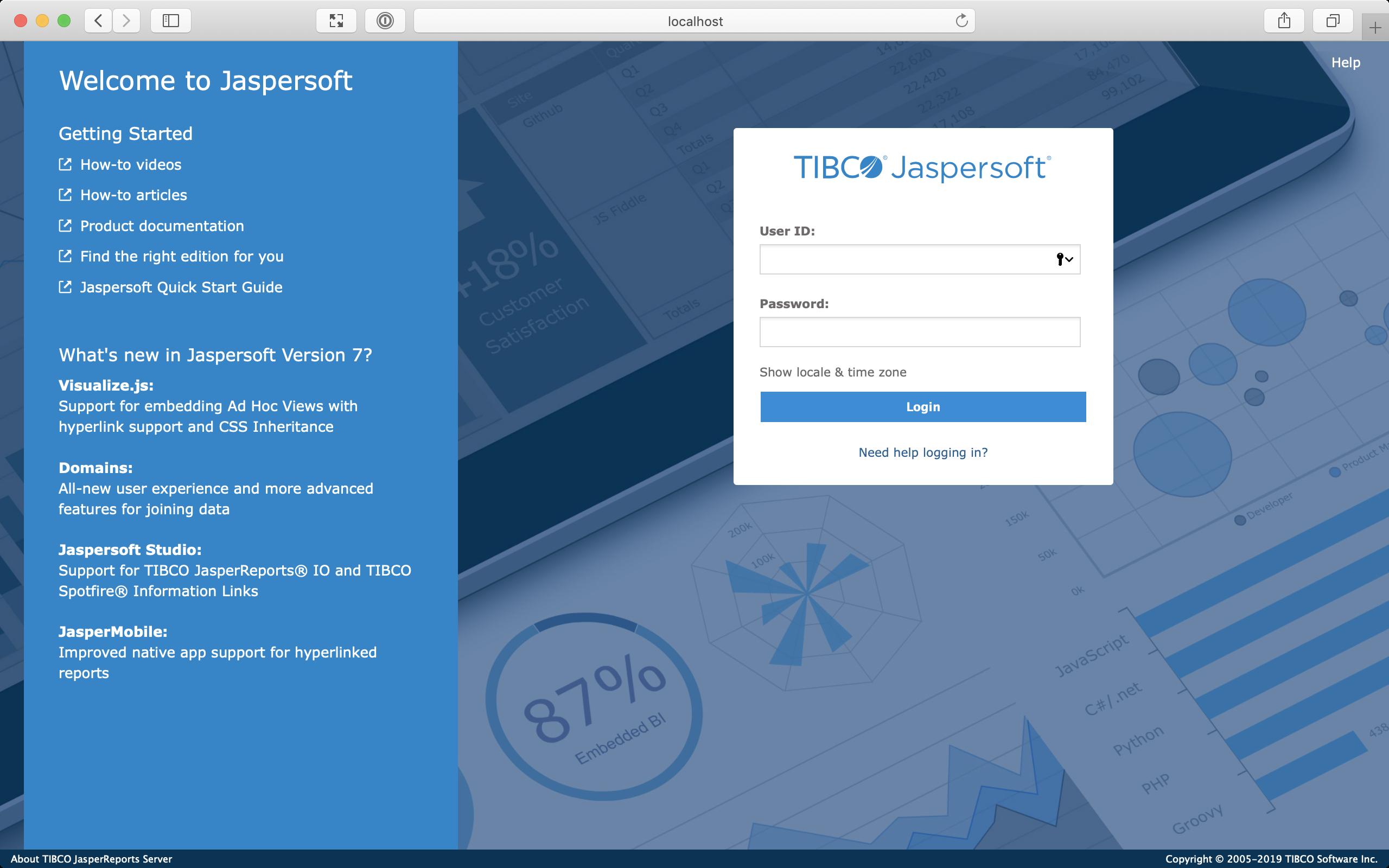 Screenshot of JasperReports Server