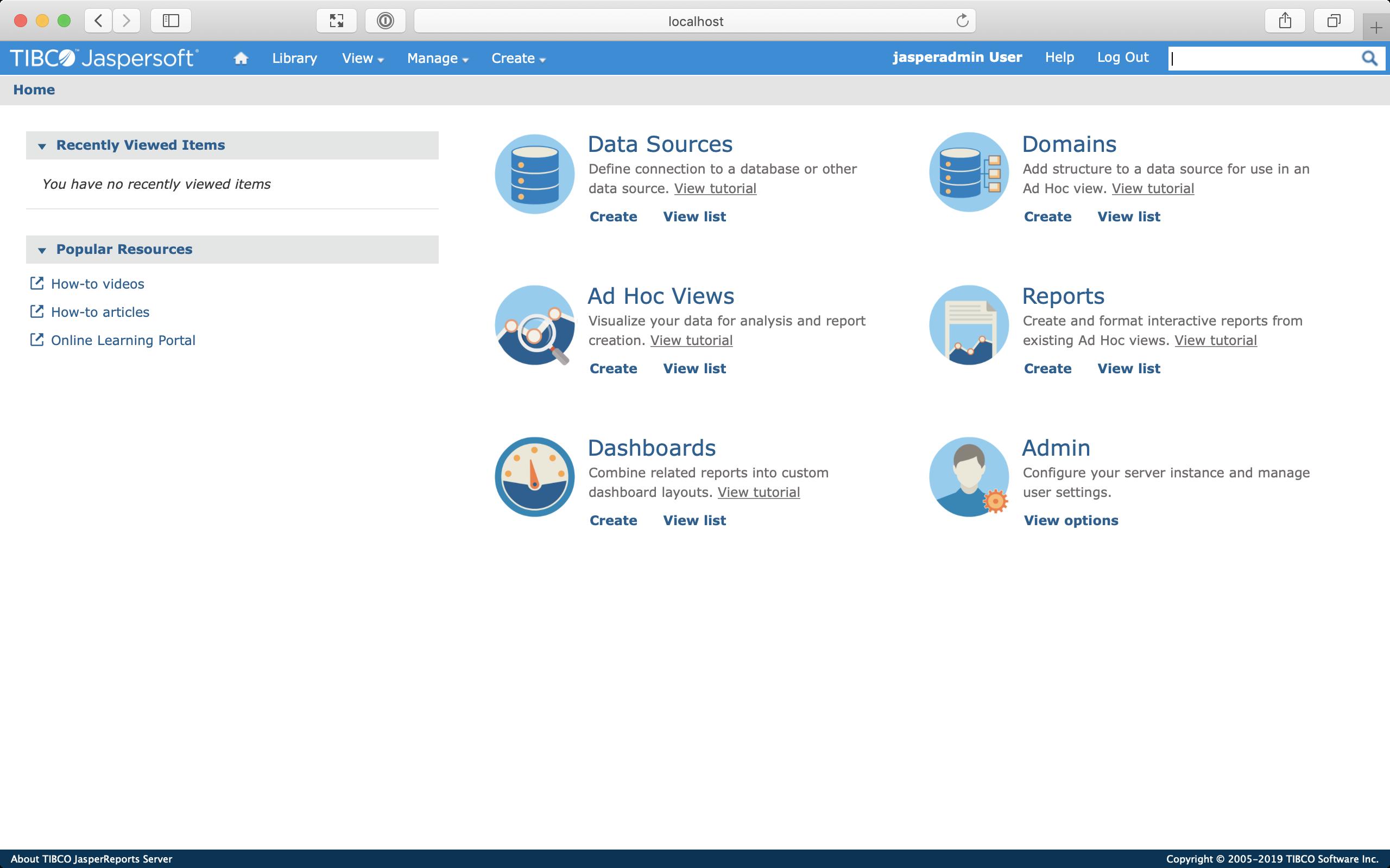 Screenshot of the home screen