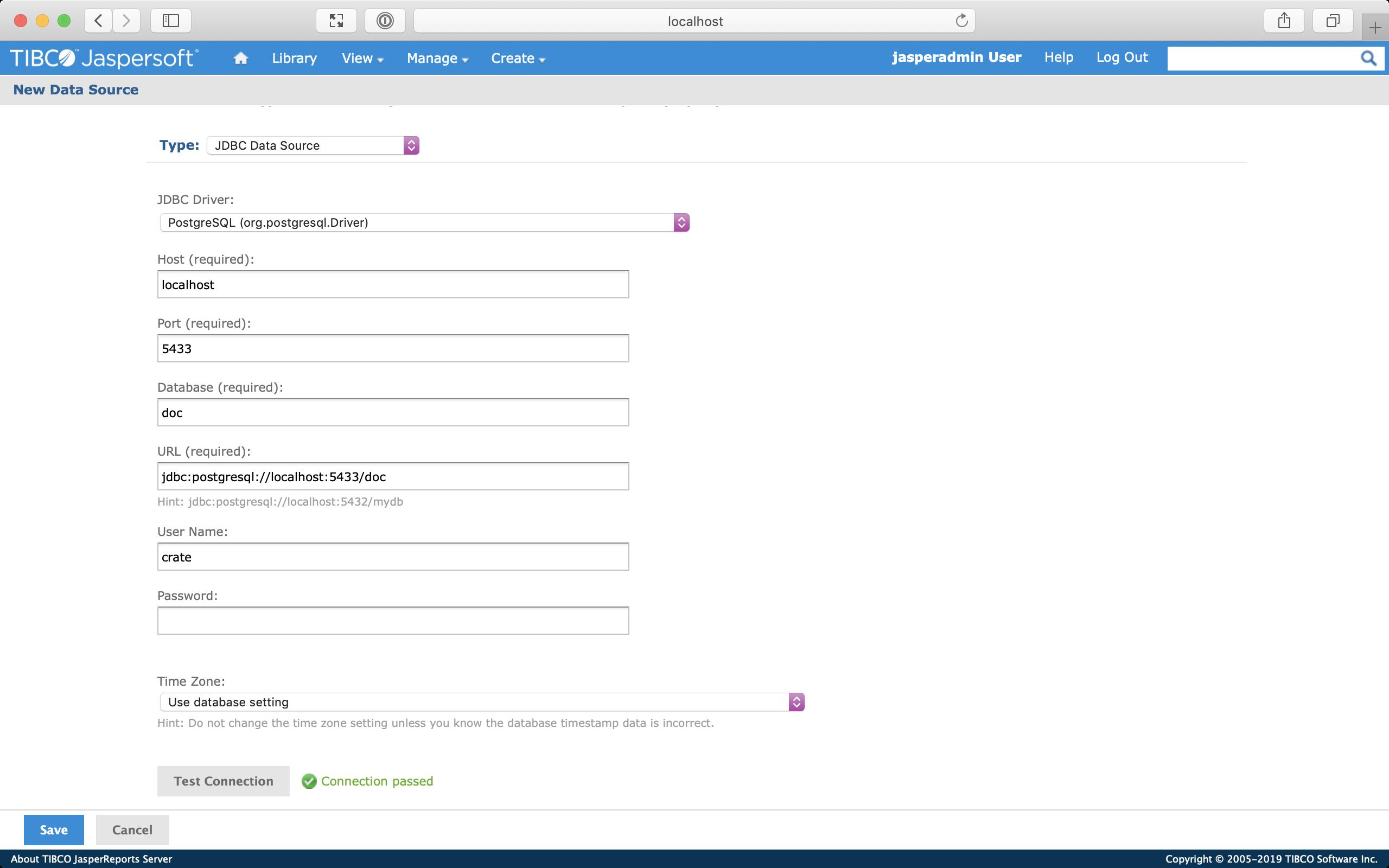 Screenshot of the New Data Source screen