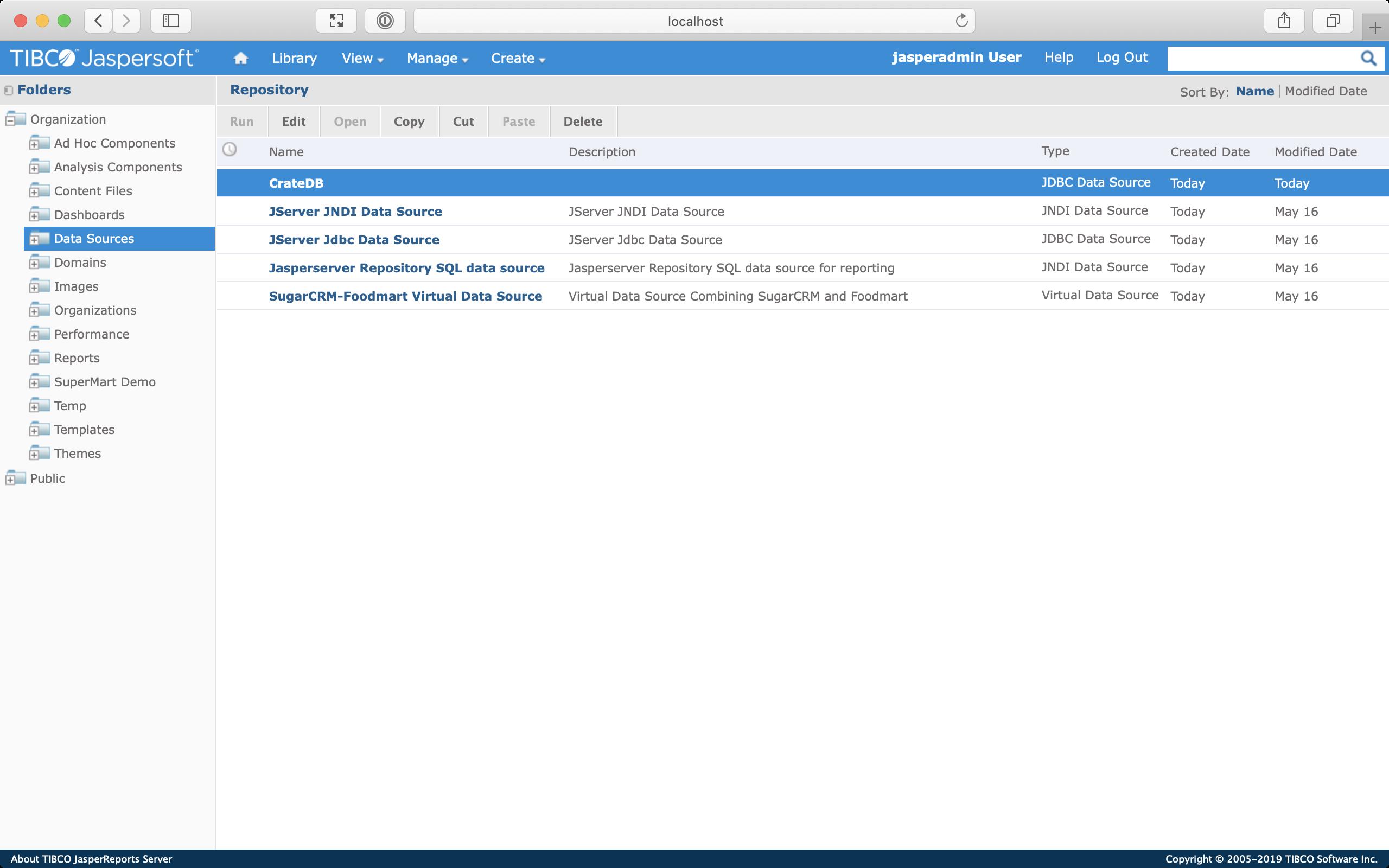 Screenshot of the Repository screen