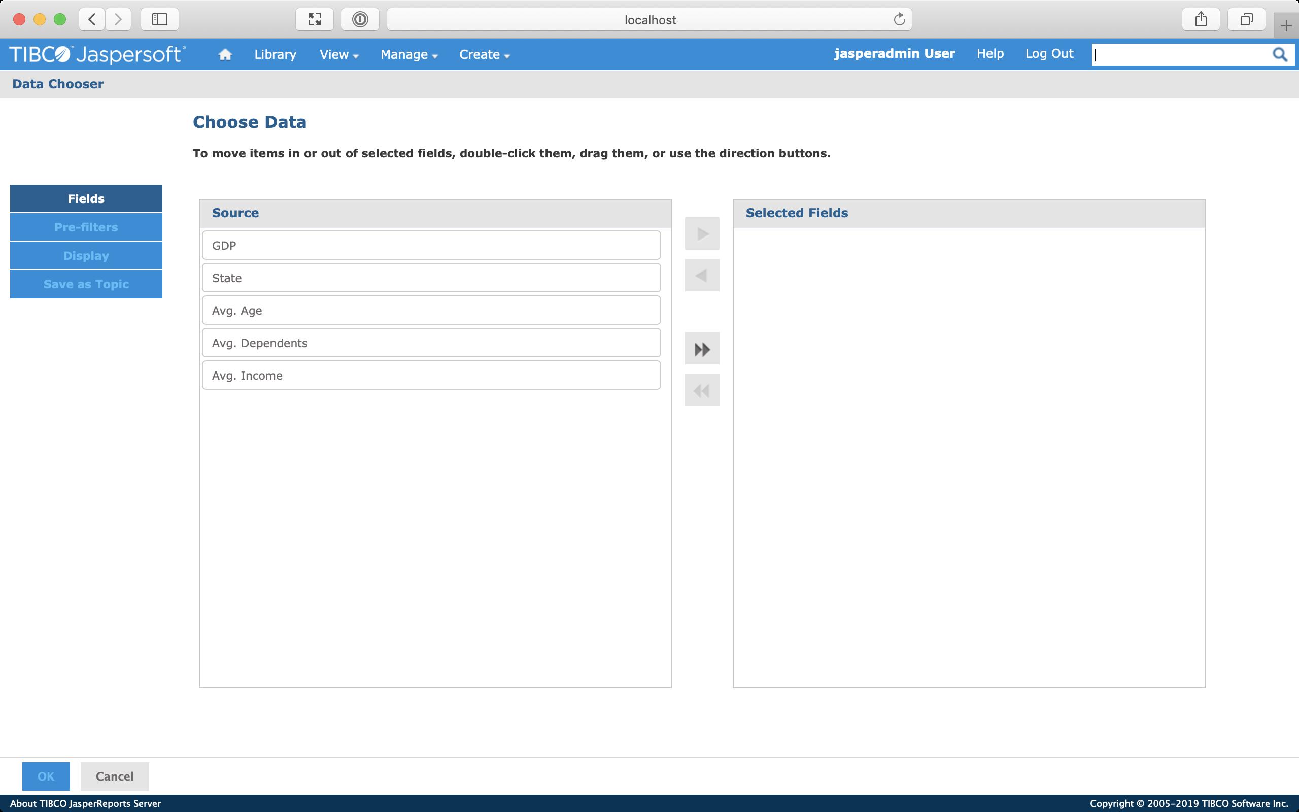 Screenshot of the Data Chooser screen