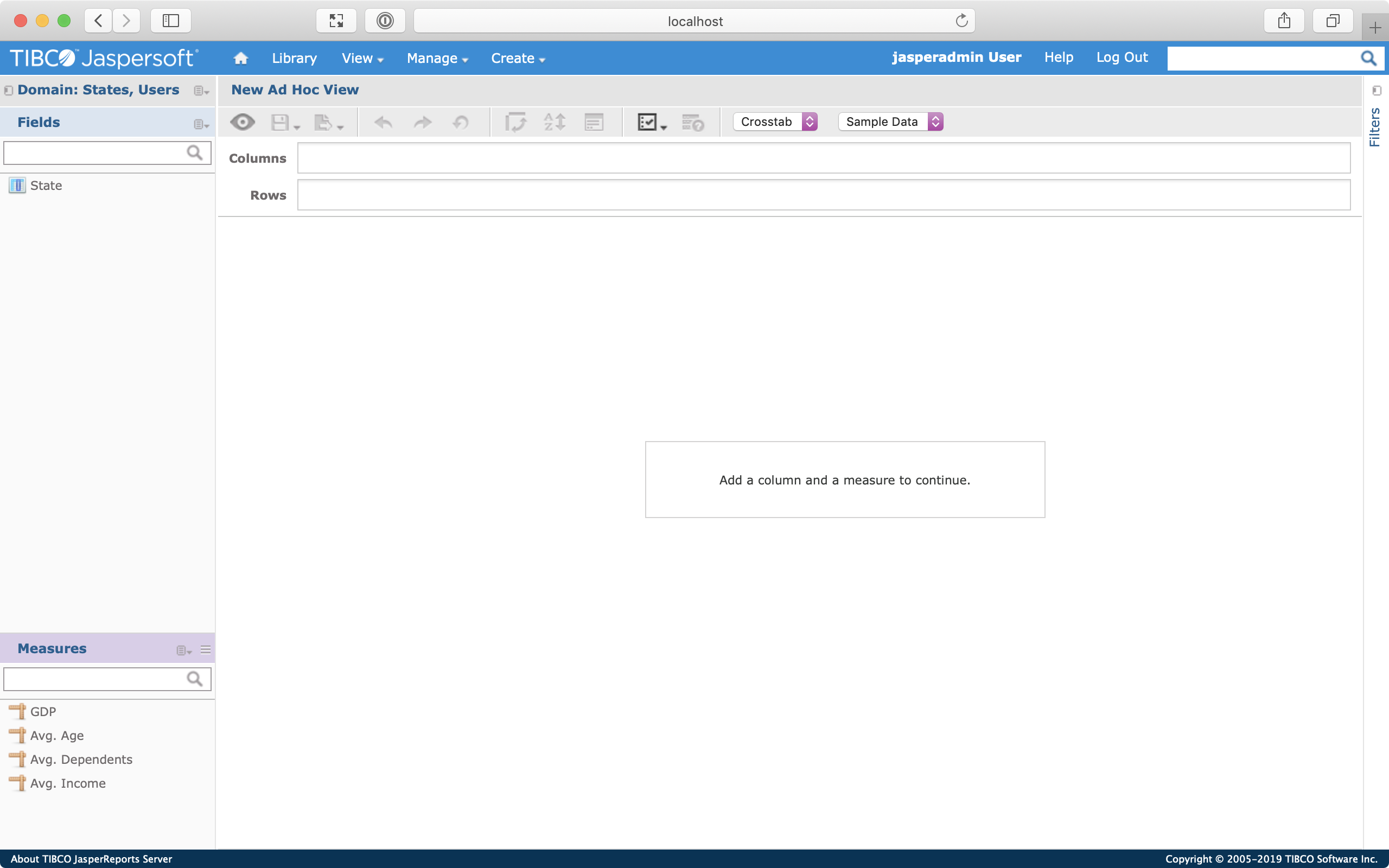 Screenshot of the New Ad Hoc View screen