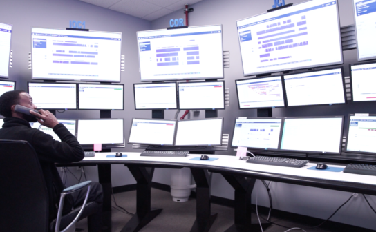A photograph of the mission control center