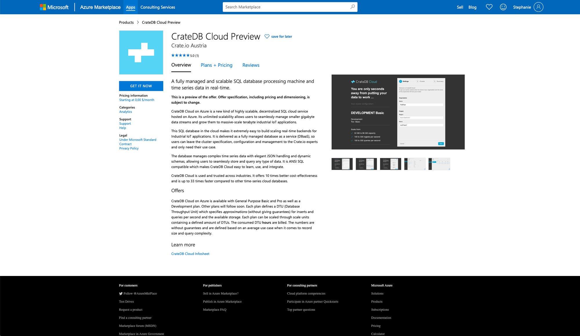 Deploying CrateDB Cloud via Azure Marketplace