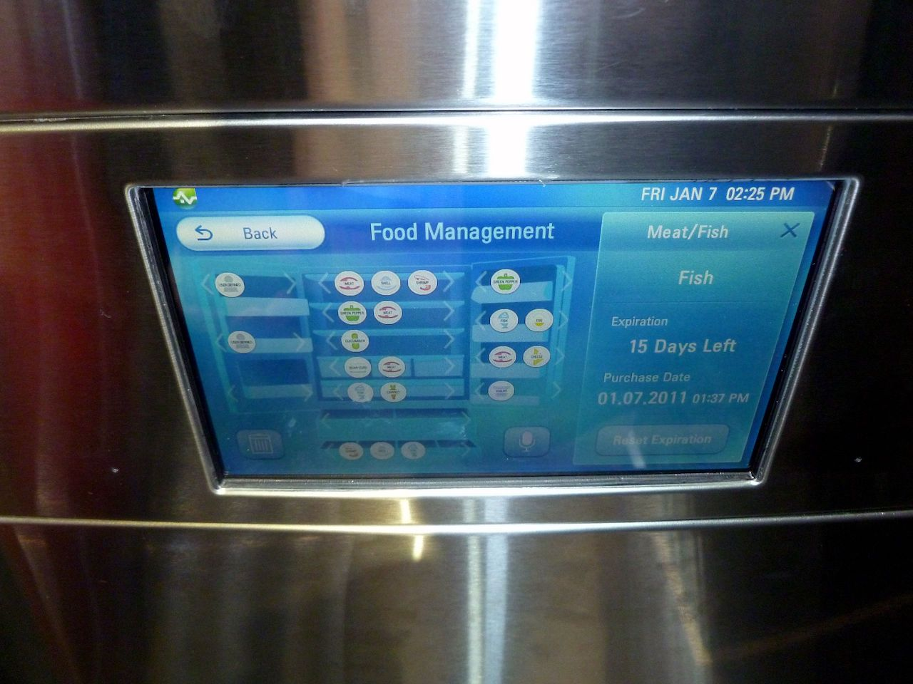 The front screen of an LG IoT smart refrigerator