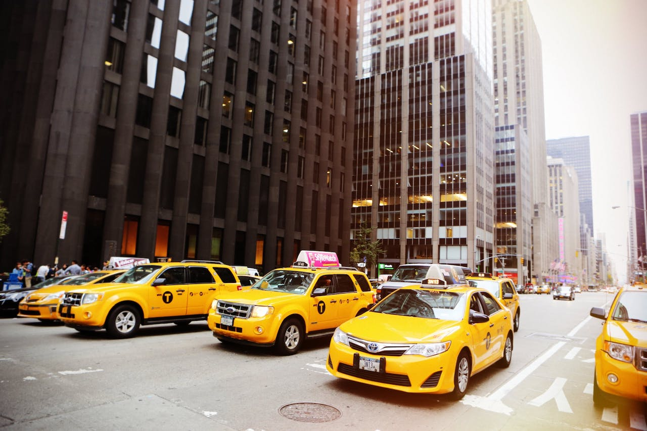 NYC taxicabs lined up
