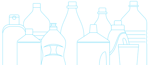 Silhouettes of plastic bottles in different sizes