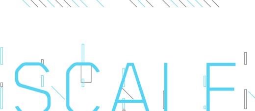 Word Scale in cyan on a white background with lines and rectangles on it.