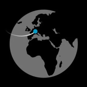 Globe with blue dot pointing to Switzerland